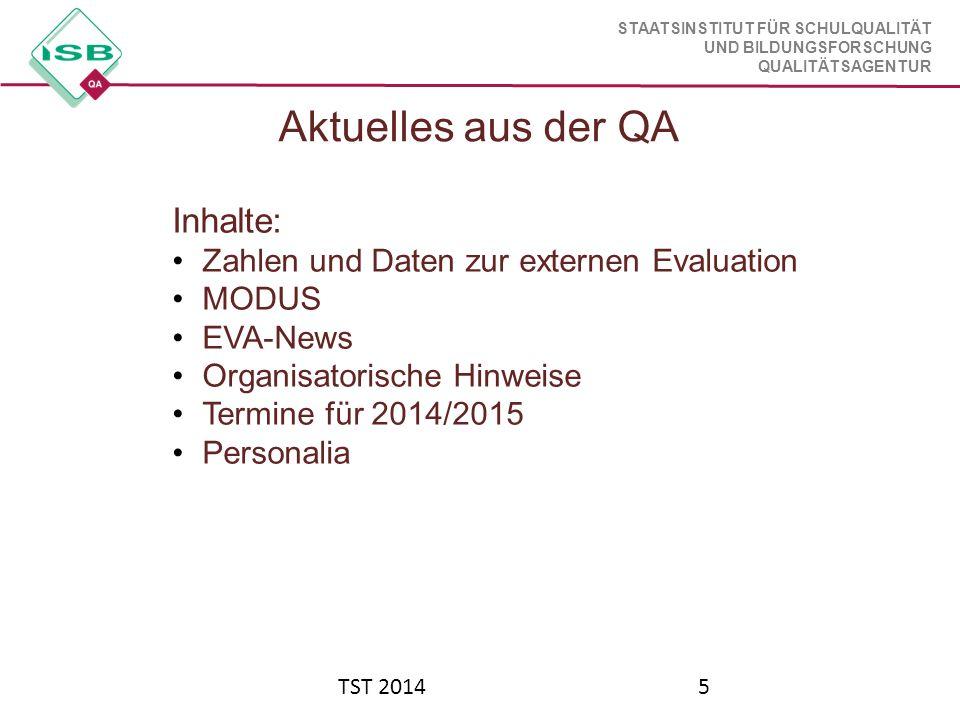 STAATSINSTITUT FÜR SCHULQUALITÄT UND BILDUNGSFORSCHUNG QUALITÄTSAGENTUR TST 20145 Aktuelles aus der QA Inhalte: Zahlen und Daten zur externen Evaluati