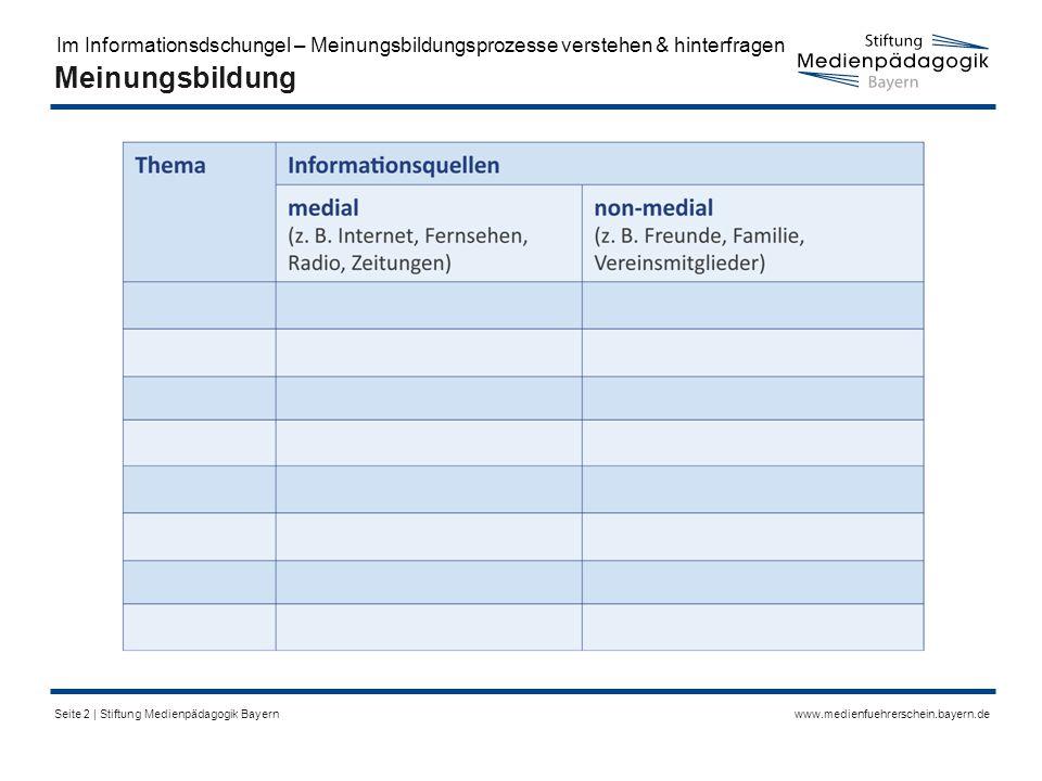 www.medienfuehrerschein.bayern.deSeite 2 | Stiftung Medienpädagogik Bayern Meinungsbildung Im Informationsdschungel – Meinungsbildungsprozesse verstehen & hinterfragen