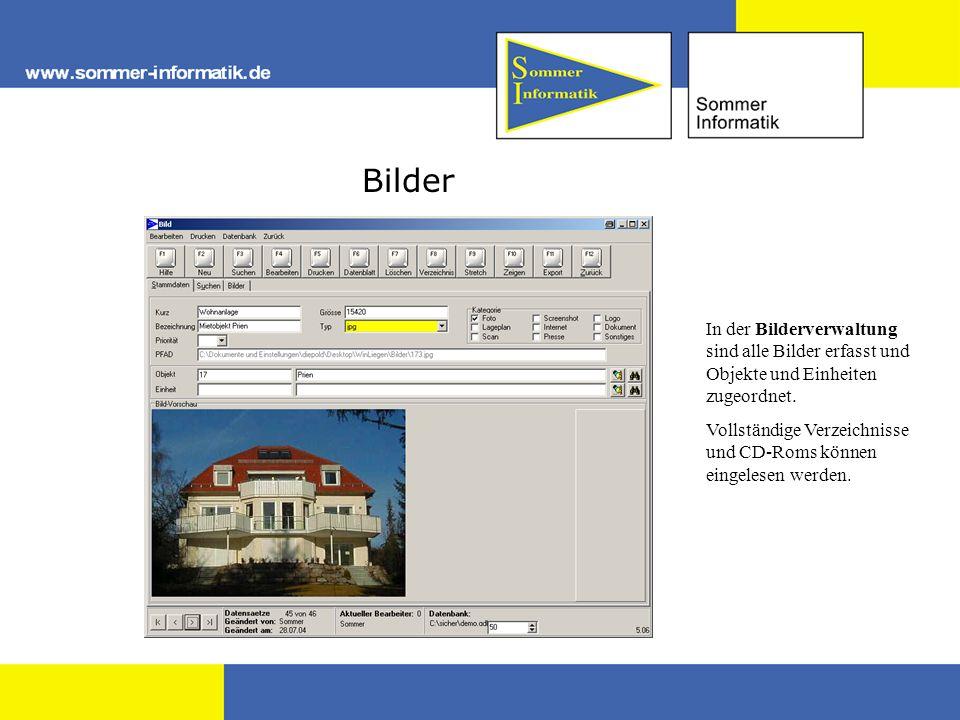 Bilder In der Bilderverwaltung sind alle Bilder erfasst und Objekte und Einheiten zugeordnet.