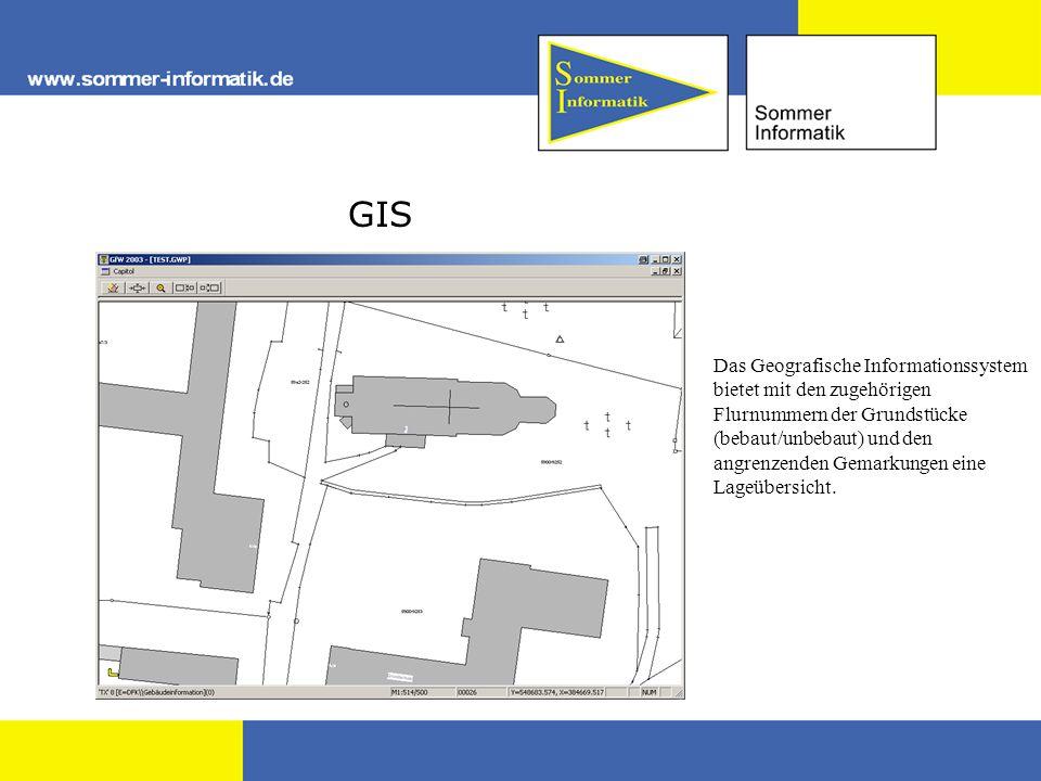 GIS Das Geografische Informationssystem bietet mit den zugehörigen Flurnummern der Grundstücke (bebaut/unbebaut) und den angrenzenden Gemarkungen eine Lageübersicht.