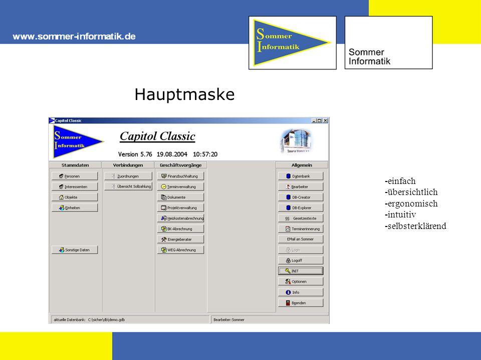 Hauptmaske -einfach -übersichtlich -ergonomisch -intuitiv -selbsterklärend