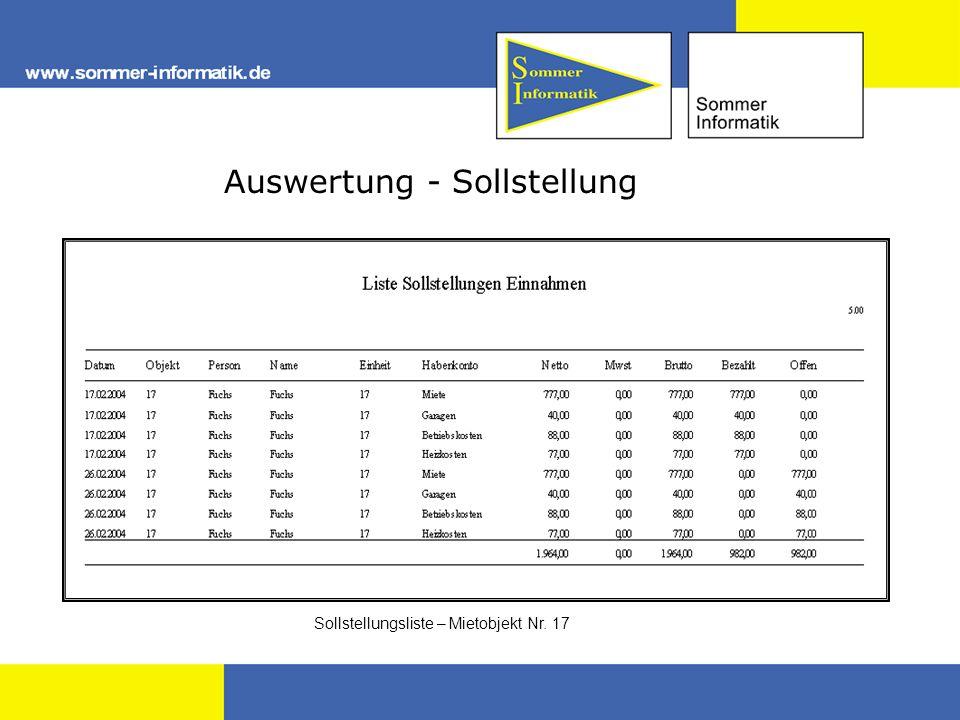 Auswertung - Sollstellung Sollstellungsliste – Mietobjekt Nr. 17
