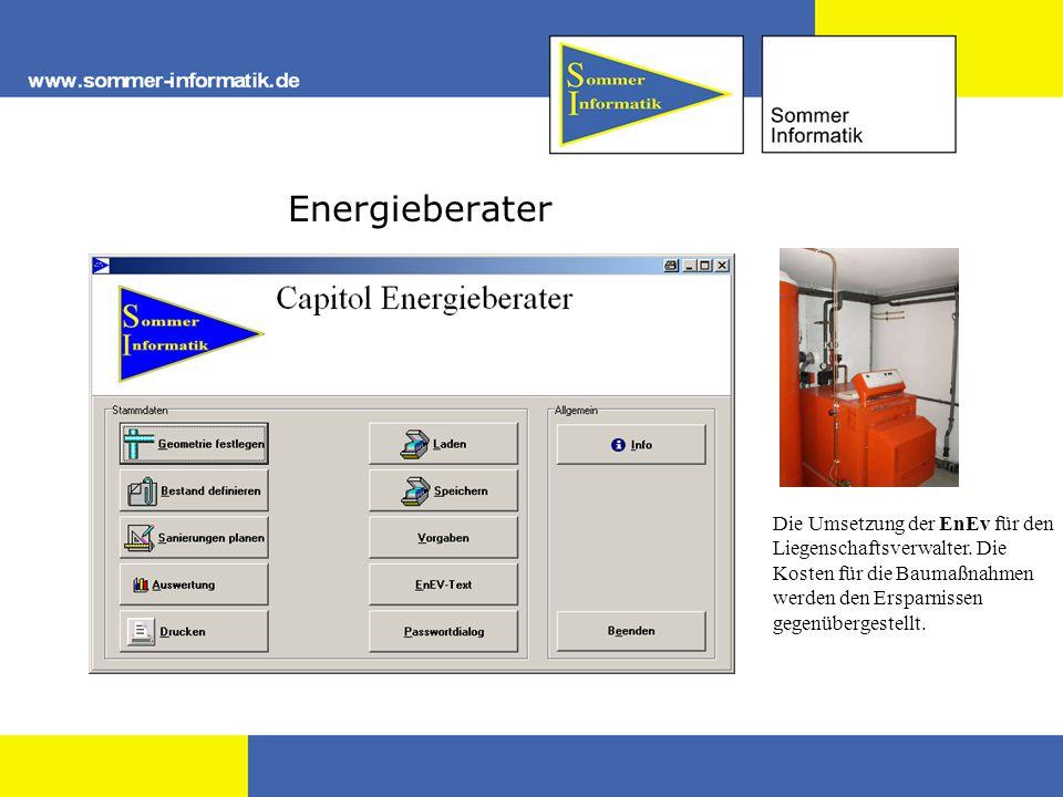 Energieberater Die Umsetzung der EnEv für den Liegenschaftsverwalter. Die Kosten für die Baumaßnahmen werden den Ersparnissen gegenübergestellt.