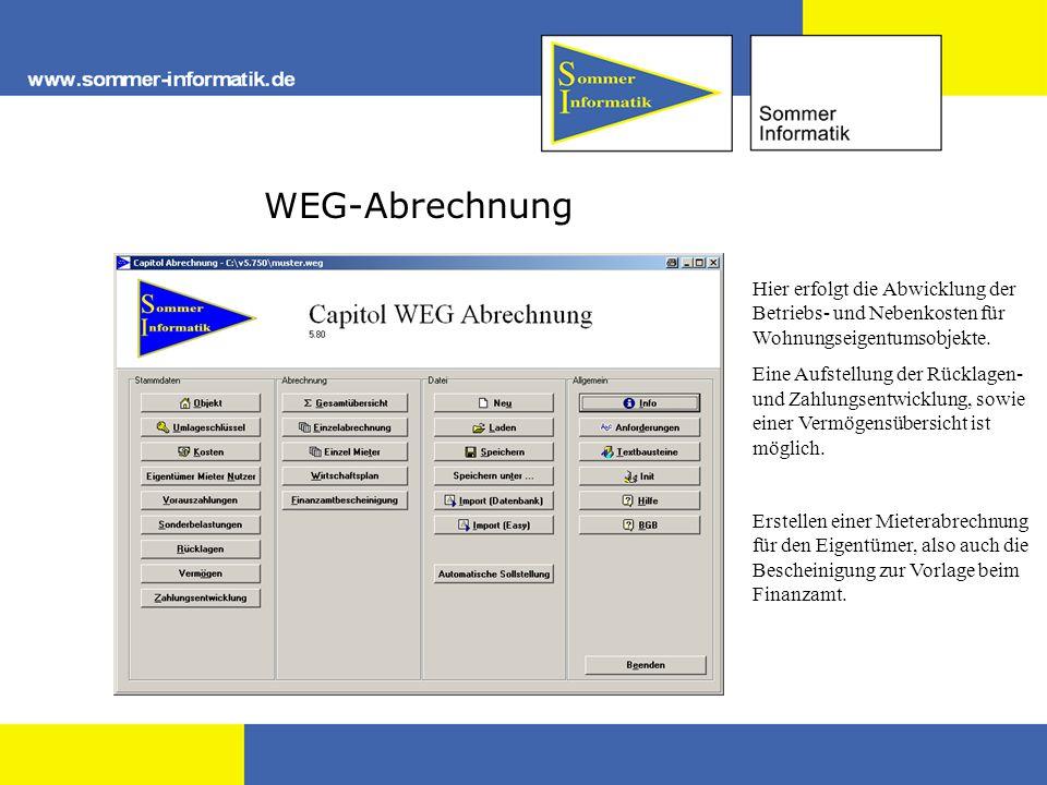 WEG-Abrechnung Hier erfolgt die Abwicklung der Betriebs- und Nebenkosten für Wohnungseigentumsobjekte. Eine Aufstellung der Rücklagen- und Zahlungsent
