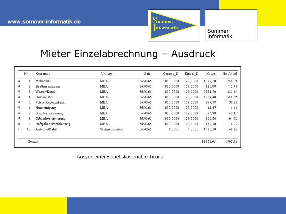 Mieter Einzelabrechnung – Ausdruck Auszug einer Betriebskostenabrechnung