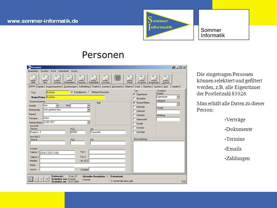 Personen Die eingetragen Personen können selektiert und gefiltert werden, z.B. alle Eigentümer der Postleitzahl 83026. Man erhält alle Daten zu dieser