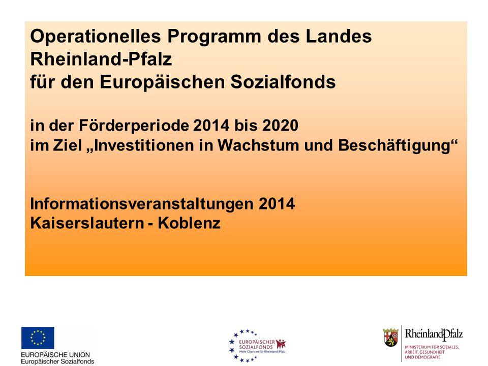 """Operationelles Programm des Landes Rheinland-Pfalz für den Europäischen Sozialfonds in der Förderperiode 2014 bis 2020 im Ziel """"Investitionen in Wachs"""