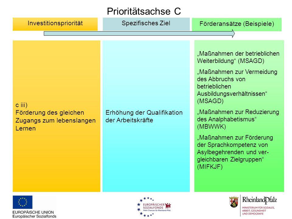 """Prioritätsachse C c iii) Förderung des gleichen Zugangs zum lebenslangen Lernen InvestitionsprioritätSpezifisches Ziel Förderansätze (Beispiele) """"Maßn"""