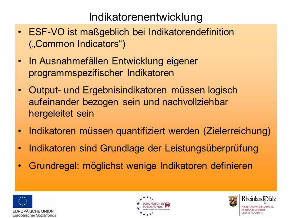 """Indikatorenentwicklung ESF-VO ist maßgeblich bei Indikatorendefinition (""""Common Indicators"""") In Ausnahmefällen Entwicklung eigener programmspezifische"""