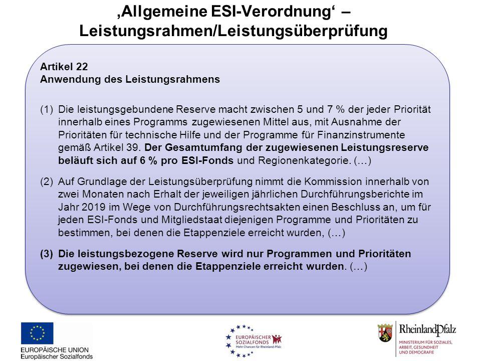 'Allgemeine ESI-Verordnung' – Leistungsrahmen/Leistungsüberprüfung Artikel 22 Anwendung des Leistungsrahmens (1)Die leistungsgebundene Reserve macht z