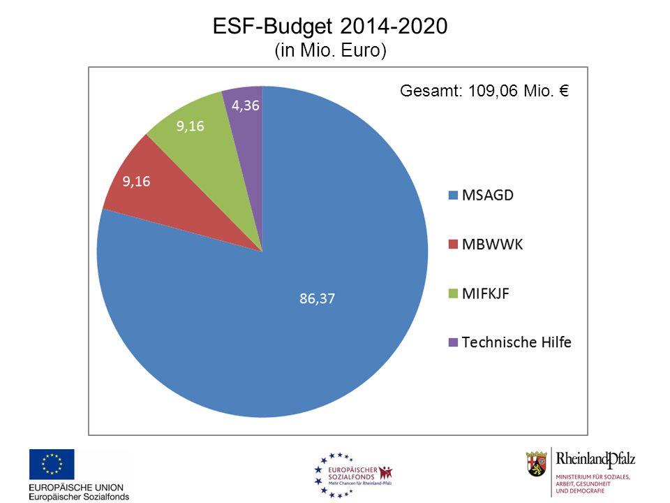 ESF-Budget 2014-2020 (in Mio. Euro) Gesamt: 109,06 Mio. €