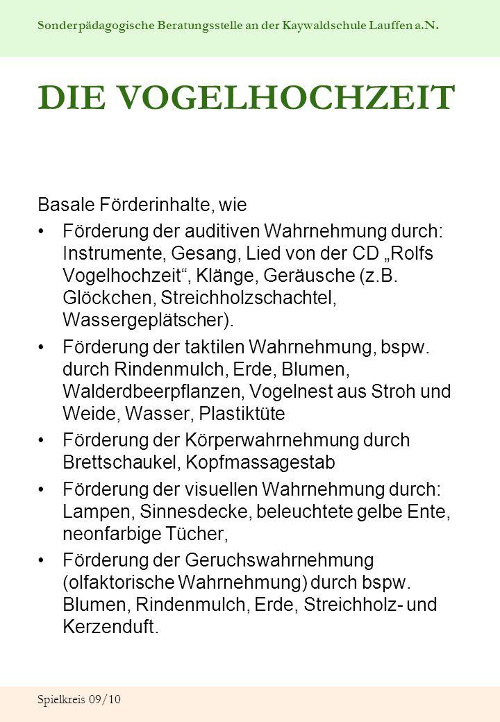 Sonderpädagogische Beratungsstelle an der Kaywaldschule Lauffen a.N. Spielkreis 09/10 DIE VOGELHOCHZEIT Basale Förderinhalte, wie Förderung der auditi