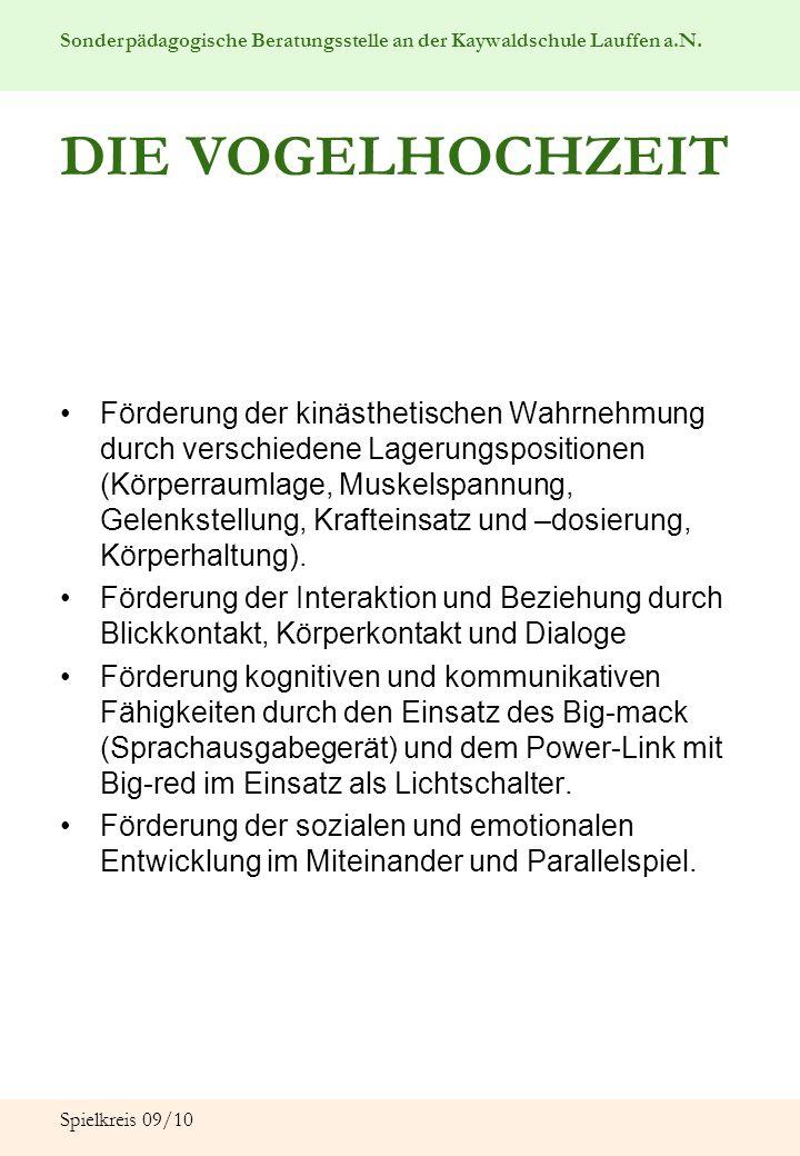 Sonderpädagogische Beratungsstelle an der Kaywaldschule Lauffen a.N. Spielkreis 09/10 DIE VOGELHOCHZEIT Förderung der kinästhetischen Wahrnehmung durc