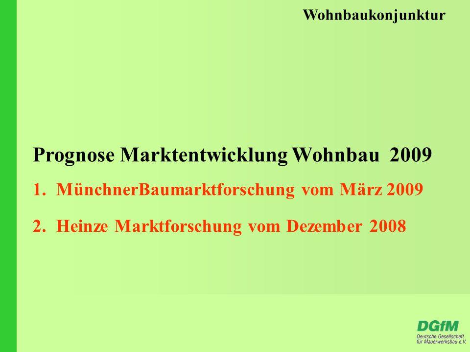 Wohnbaukonjunktur Prognose Marktentwicklung Wohnbau 2009 1.MünchnerBaumarktforschung vom März 2009 2.Heinze Marktforschung vom Dezember 2008