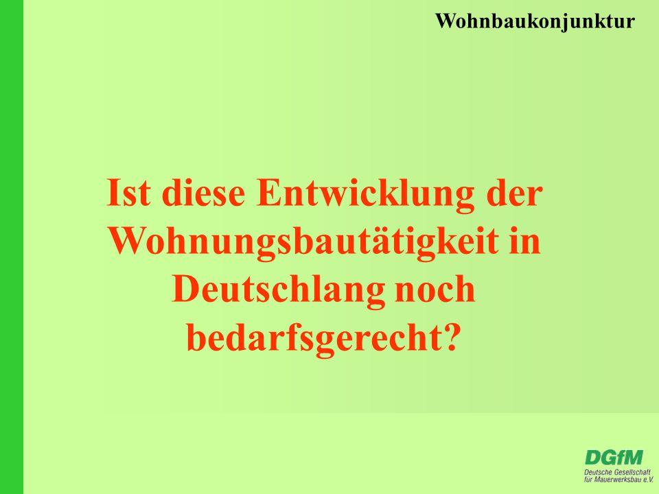 Wohnbaukonjunktur Ist diese Entwicklung der Wohnungsbautätigkeit in Deutschlang noch bedarfsgerecht