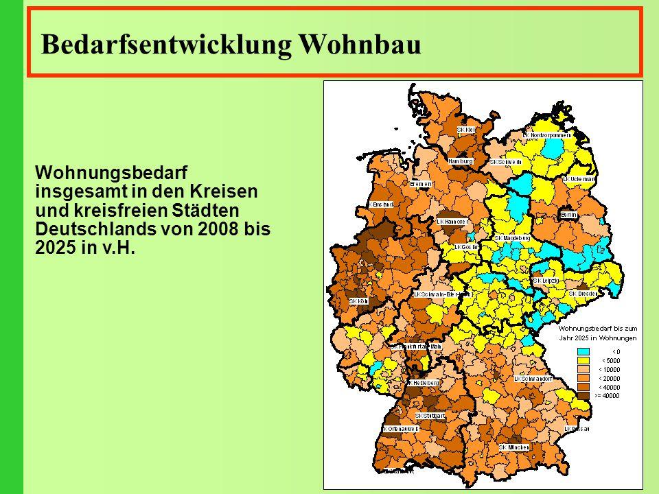 Bedarfsentwicklung Wohnbau Wohnungsbedarf insgesamt in den Kreisen und kreisfreien Städten Deutschlands von 2008 bis 2025 in v.H.