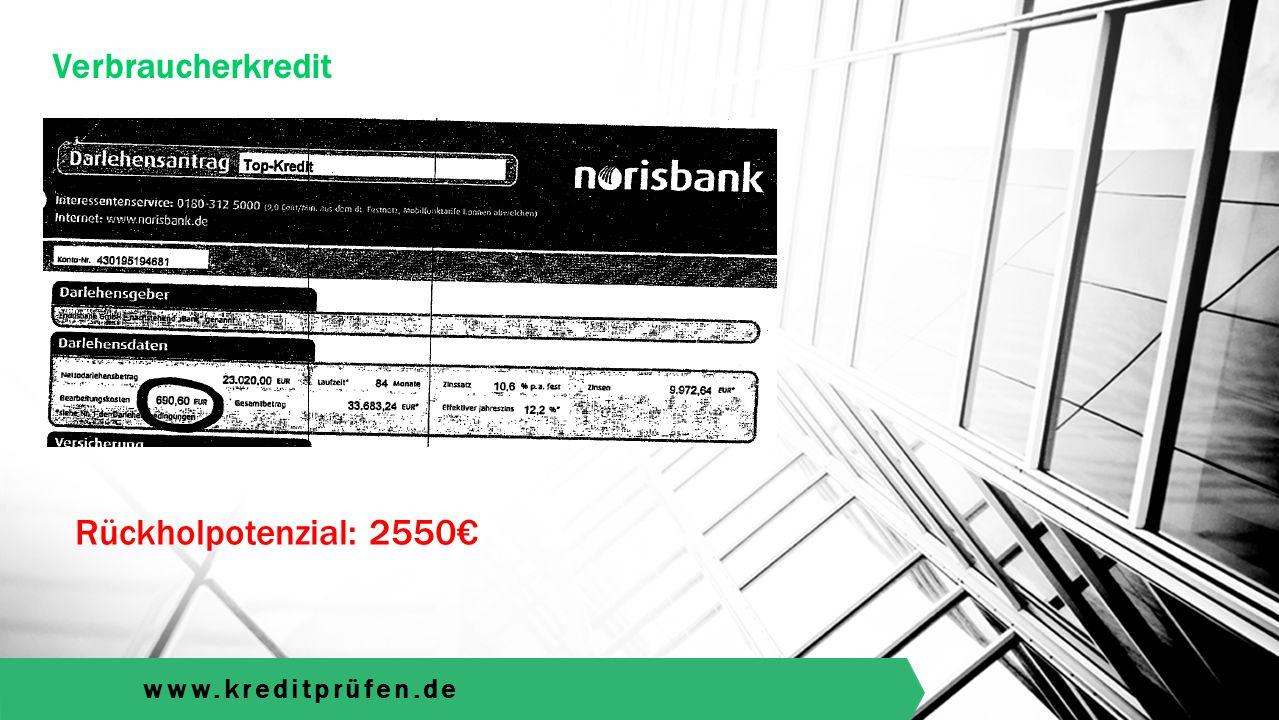 www.kreditprüfen.de Verbraucherkredit Rückholpotenzial: 2550€