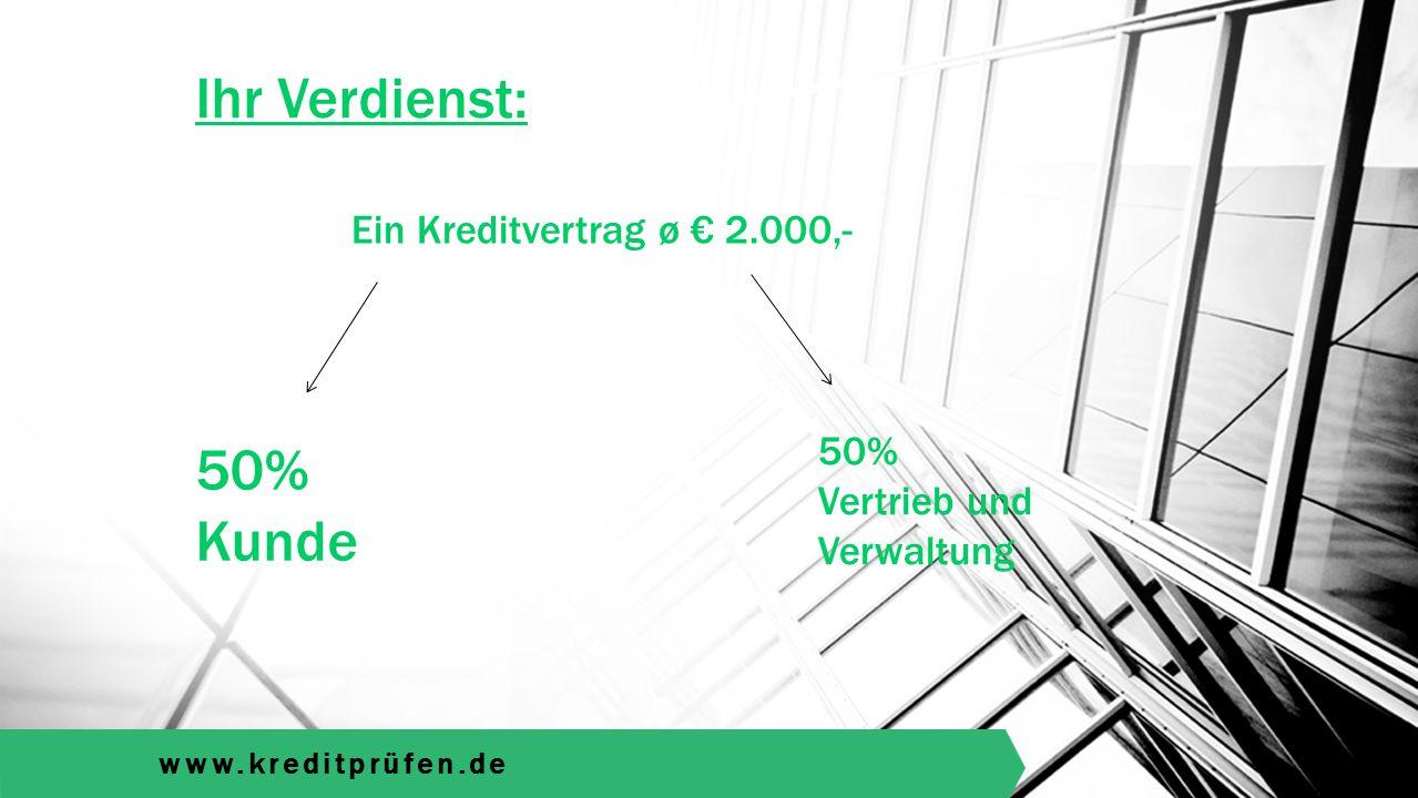 www.kreditprüfen.de Ihr Verdienst: 50% Kunde Ein Kreditvertrag ø € 2.000,- 50% Vertrieb und Verwaltung