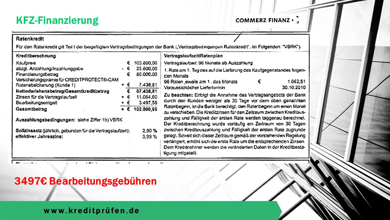 www.kreditprüfen.de KFZ-Finanzierung 1200€ Bearbeitungsgebühren
