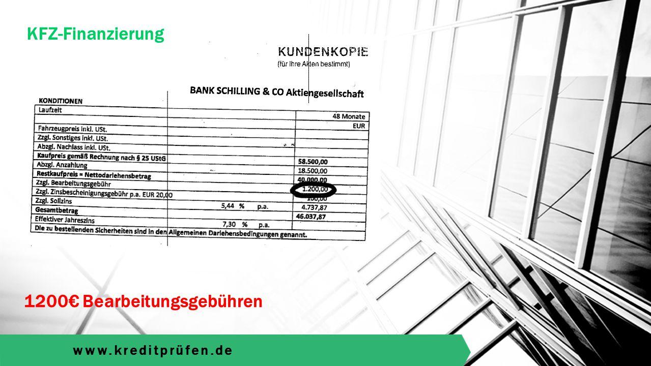 www.kreditprüfen.de KFZ-Finanzierung Rückholpotenzial: 2169€