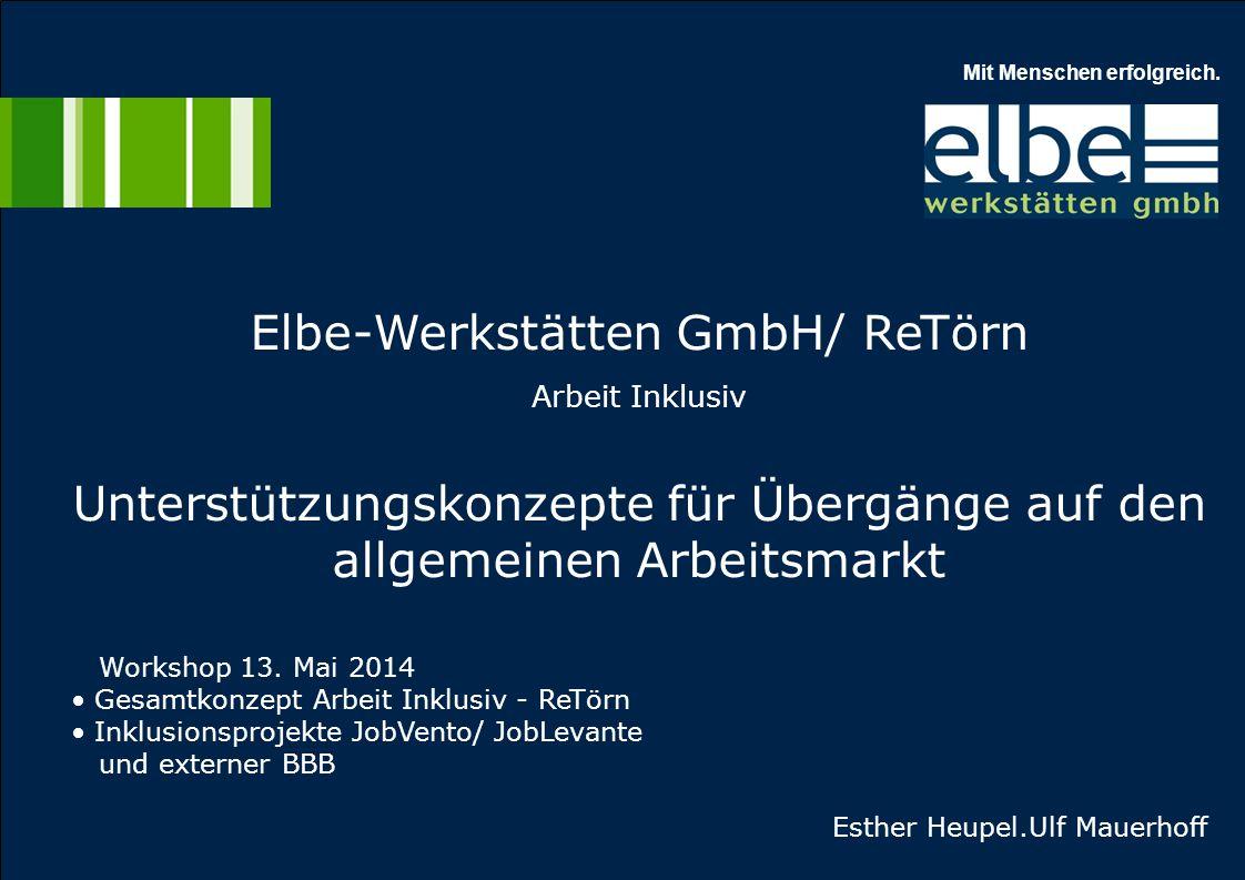 Elbe-Werkstätten GmbH/ ReTörn Arbeit Inklusiv Unterstützungskonzepte für Übergänge auf den allgemeinen Arbeitsmarkt Workshop 13. Mai 2014 Gesamtkonzep