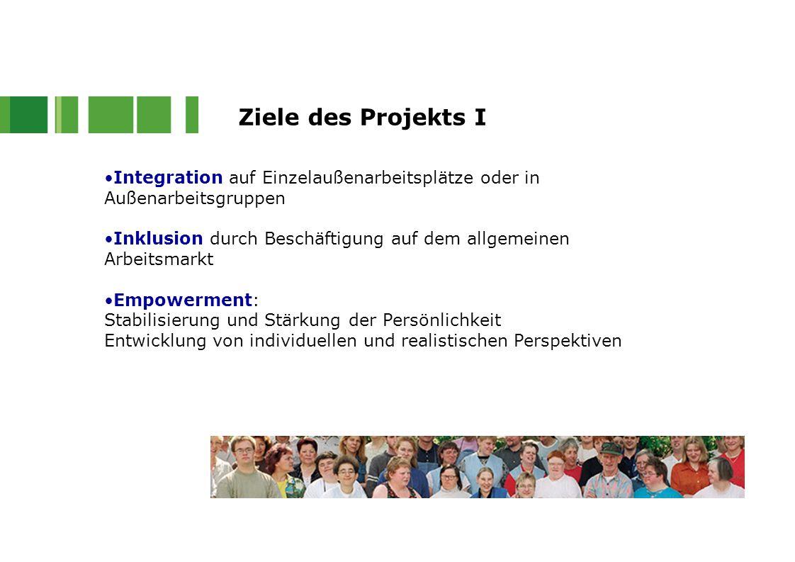 Ziele des Projekts I Integration auf Einzelaußenarbeitsplätze oder in Außenarbeitsgruppen Inklusion durch Beschäftigung auf dem allgemeinen Arbeitsmar