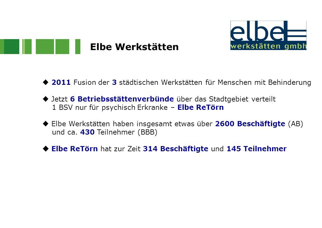 Elbe Werkstätten  2011 Fusion der 3 städtischen Werkstätten für Menschen mit Behinderung  Jetzt 6 Betriebsstättenverbünde über das Stadtgebiet verte