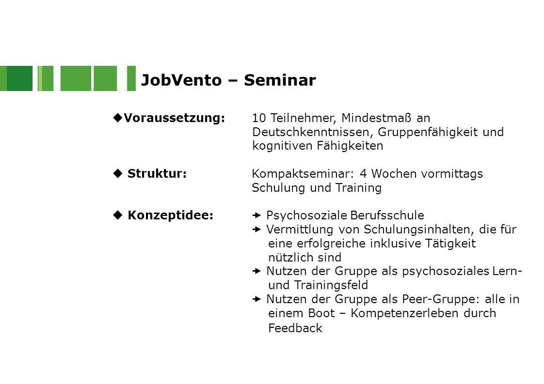  Voraussetzung: 10 Teilnehmer, Mindestmaß an Deutschkenntnissen, Gruppenfähigkeit und kognitiven Fähigkeiten  Struktur:Kompaktseminar: 4 Wochen vorm