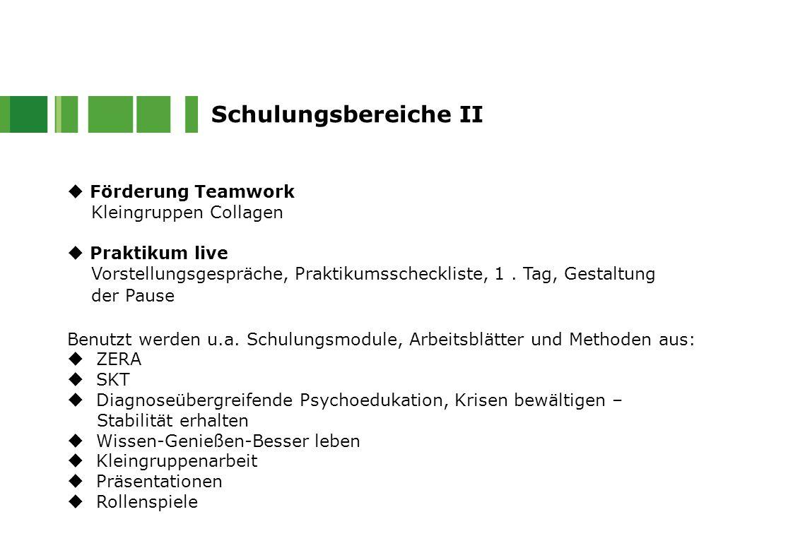  Förderung Teamwork Kleingruppen Collagen  Praktikum live Vorstellungsgespräche, Praktikumsscheckliste, 1. Tag, Gestaltung der Pause Benutzt werden