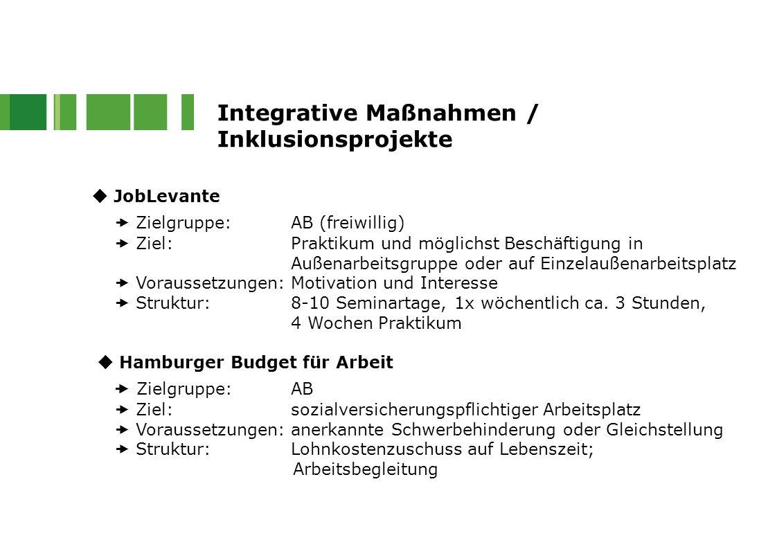 Integrative Maßnahmen / Inklusionsprojekte  JobLevante  Zielgruppe: AB (freiwillig)  Ziel:Praktikum und möglichst Beschäftigung in Außenarbeitsgrup