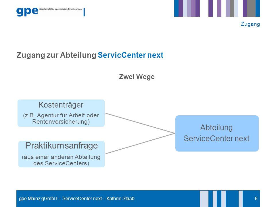 Zugang zur Abteilung ServicCenter next Zwei Wege 8 Abteilung ServiceCenter next Kostenträger (z.B. Agentur für Arbeit oder Rentenversicherung) Praktik
