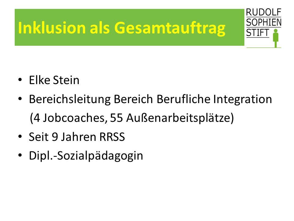 Inklusion als Gesamtauftrag Elke Stein Bereichsleitung Bereich Berufliche Integration (4 Jobcoaches, 55 Außenarbeitsplätze) Seit 9 Jahren RRSS Dipl.-S