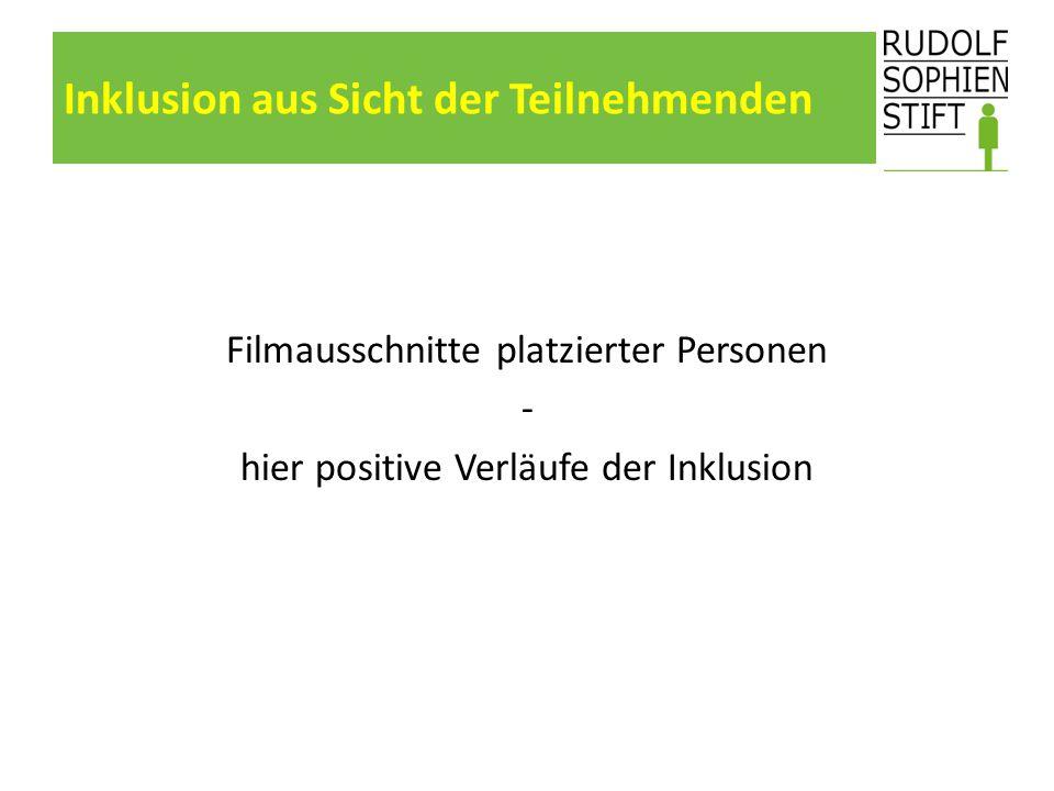 Inklusion aus Sicht der Teilnehmenden Filmausschnitte platzierter Personen - hier positive Verläufe der Inklusion