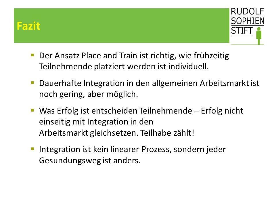 Fazit  Der Ansatz Place and Train ist richtig, wie frühzeitig Teilnehmende platziert werden ist individuell.  Dauerhafte Integration in den allgemei