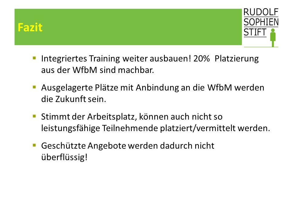 Fazit  Integriertes Training weiter ausbauen! 20% Platzierung aus der WfbM sind machbar.  Ausgelagerte Plätze mit Anbindung an die WfbM werden die Z