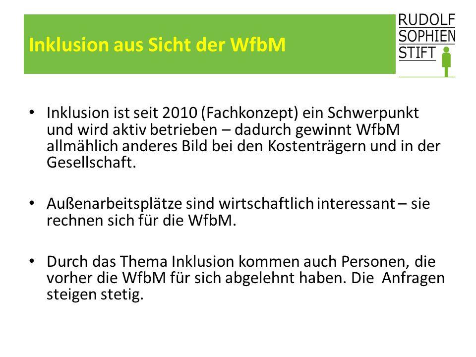 Inklusion aus Sicht der WfbM Inklusion ist seit 2010 (Fachkonzept) ein Schwerpunkt und wird aktiv betrieben – dadurch gewinnt WfbM allmählich anderes