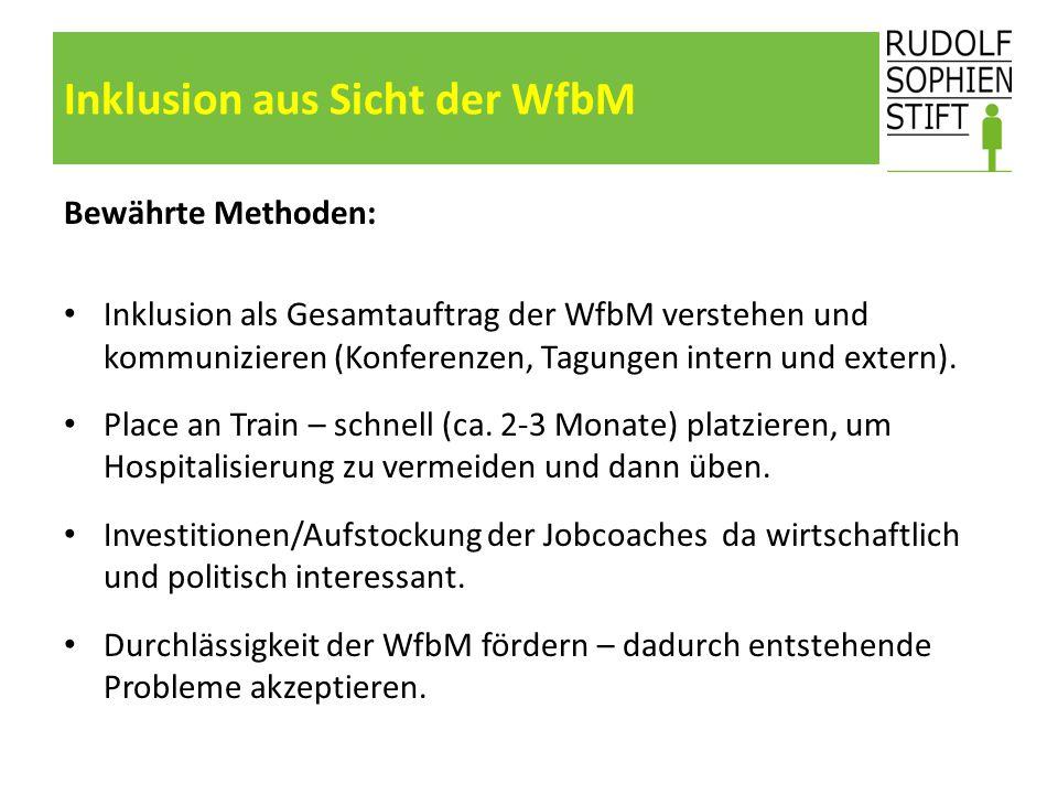 Inklusion aus Sicht der WfbM Bewährte Methoden: Inklusion als Gesamtauftrag der WfbM verstehen und kommunizieren (Konferenzen, Tagungen intern und ext