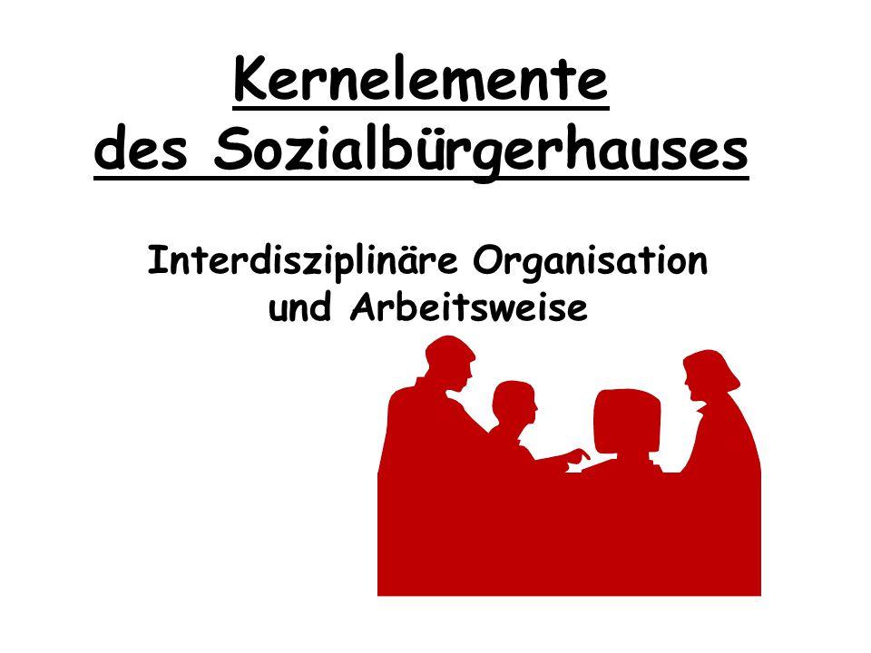 Kernelemente des Sozialbürgerhauses Gemeinsame regionale Zuständigkeit dieser Dienste für eine Sozialregion Sozialbürgerhaus Orleansplatz Stadtbezirke