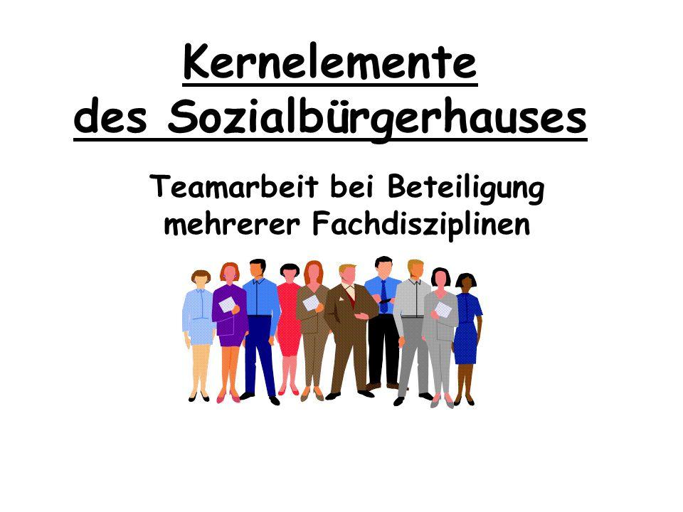 Kernelemente des Sozialbürgerhauses Koordination der Dienstleistungen im Rahmen der Prozessverantwortung