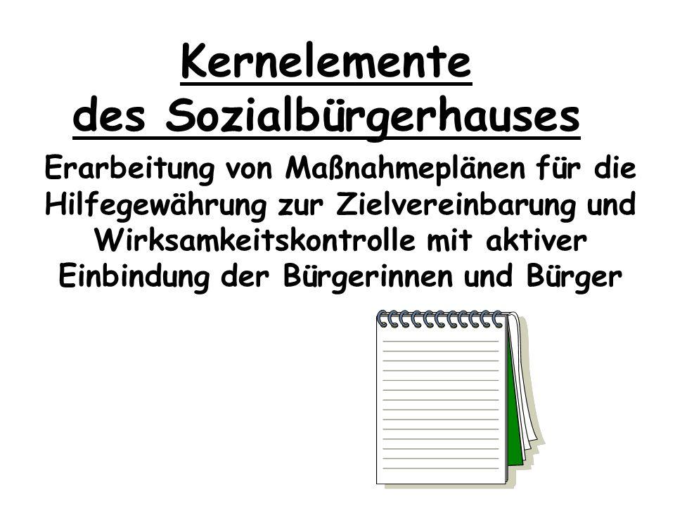 Kernelemente des Sozialbürgerhauses Teamarbeit bei Beteiligung mehrerer Fachdisziplinen