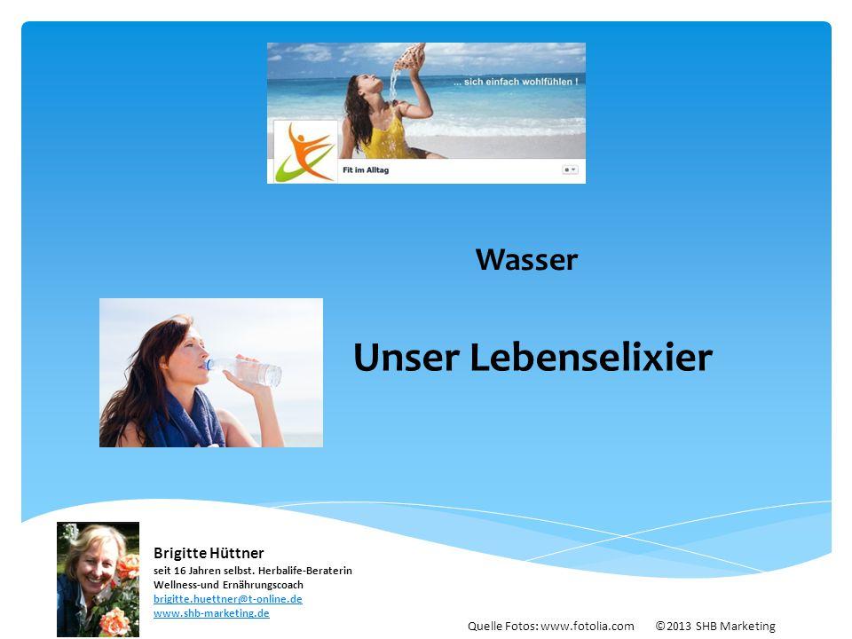 Wasser Unser Lebenselixier Quelle Fotos: www.fotolia.com ©2013 SHB Marketing Brigitte Hüttner seit 16 Jahren selbst. Herbalife-Beraterin Wellness-und