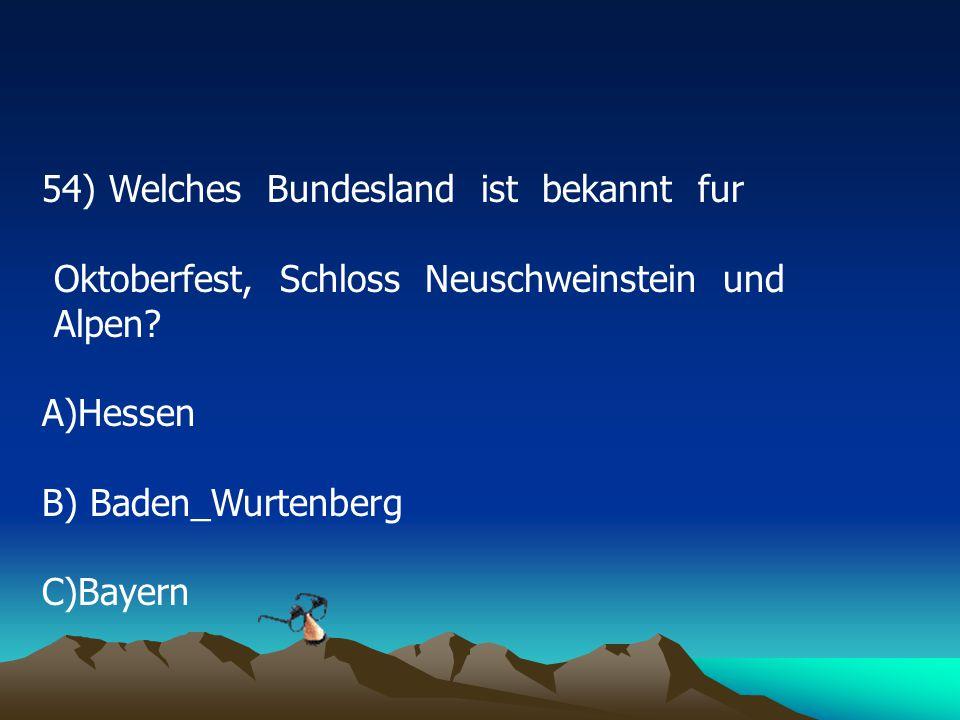 54) Welches Bundesland ist bekannt fur Oktoberfest, Schloss Neuschweinstein und Alpen.