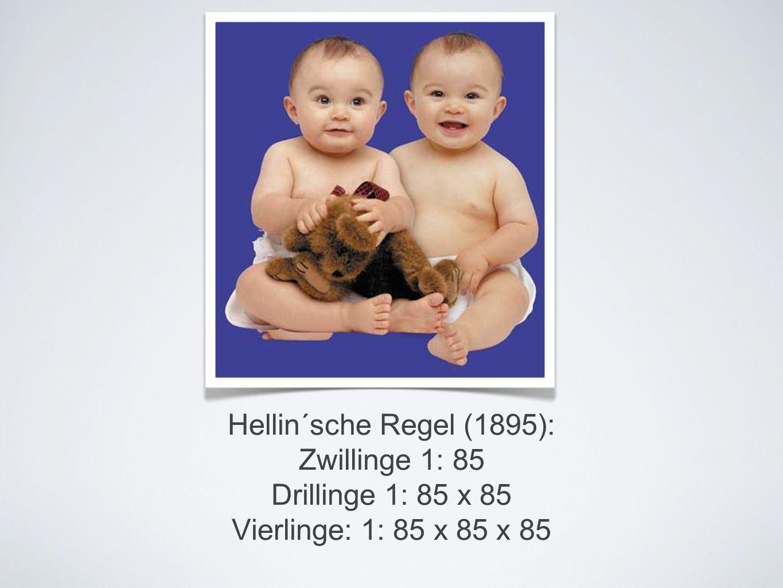 Hellin´sche Regel (1895): Zwillinge 1: 85 Drillinge 1: 85 x 85 Vierlinge: 1: 85 x 85 x 85