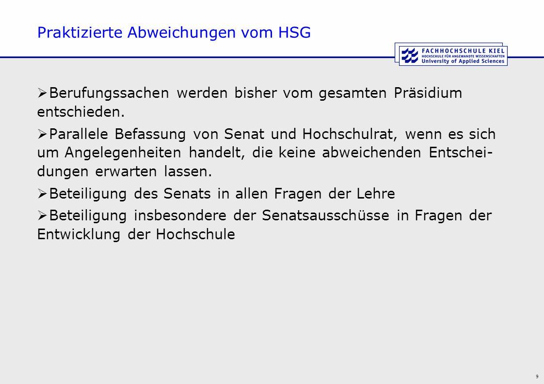 9 Praktizierte Abweichungen vom HSG  Berufungssachen werden bisher vom gesamten Präsidium entschieden.  Parallele Befassung von Senat und Hochschulr