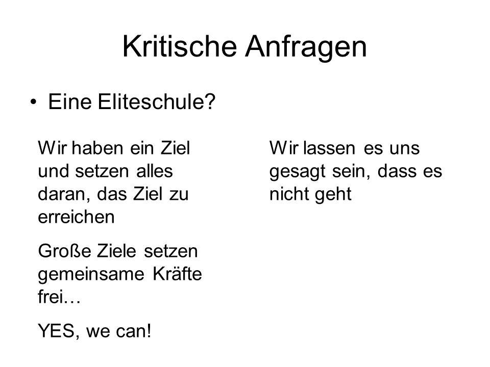 Kritische Anfragen Eine Eliteschule.
