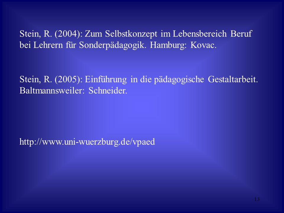 13 Stein, R. (2004): Zum Selbstkonzept im Lebensbereich Beruf bei Lehrern für Sonderpädagogik.