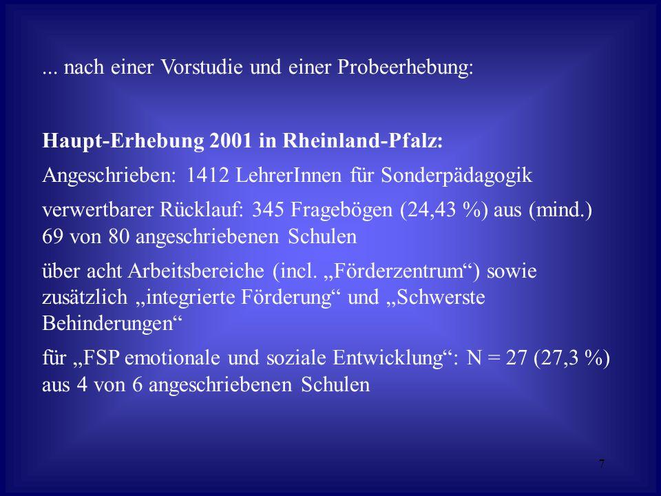 7... nach einer Vorstudie und einer Probeerhebung: Haupt-Erhebung 2001 in Rheinland-Pfalz: Angeschrieben: 1412 LehrerInnen für Sonderpädagogik verwert