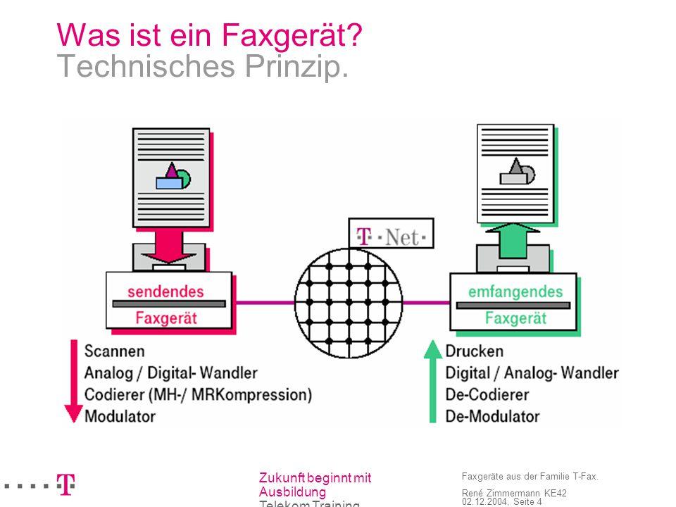Zukunft beginnt mit Ausbildung Telekom Training Faxgeräte aus der Familie T-Fax. René Zimmermann KE42 02.12.2004, Seite 4 Was ist ein Faxgerät? Techni