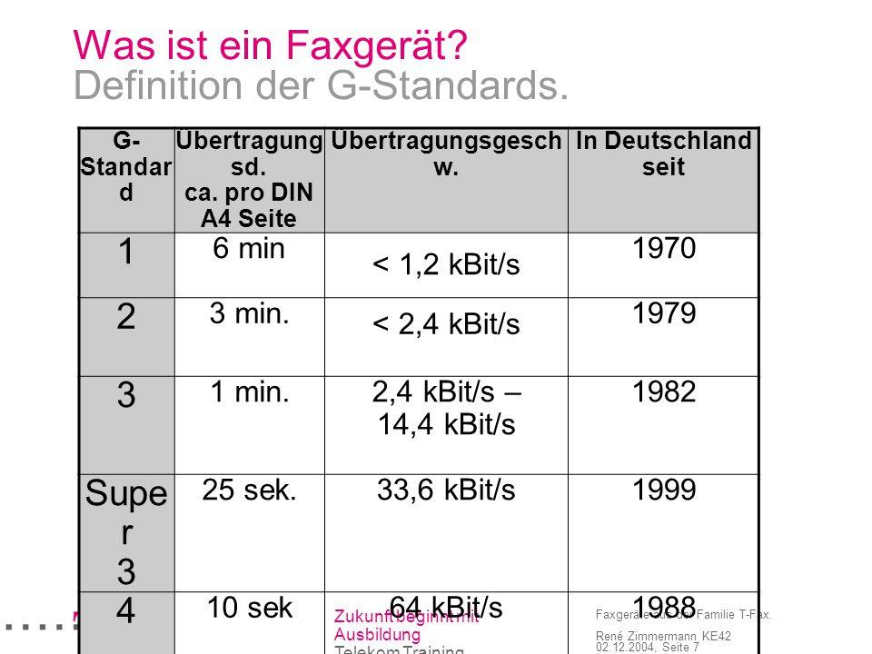 Zukunft beginnt mit Ausbildung Telekom Training Faxgeräte aus der Familie T-Fax. René Zimmermann KE42 02.12.2004, Seite 7 Was ist ein Faxgerät? Defini