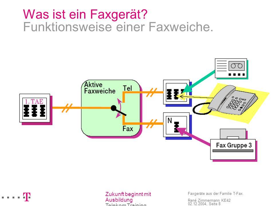 Zukunft beginnt mit Ausbildung Telekom Training Faxgeräte aus der Familie T-Fax. René Zimmermann KE42 02.12.2004, Seite 8 Was ist ein Faxgerät? Funkti